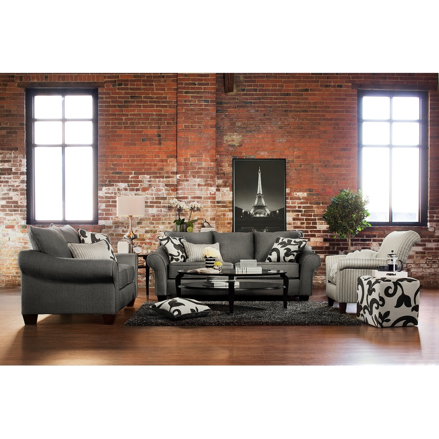Colette sofa loveseat and accent chair set gray value for Living room chair set