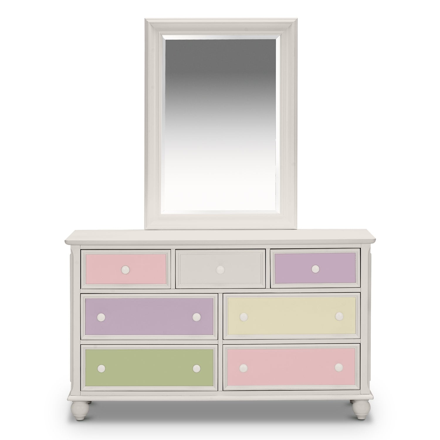 colorworks dresser and mirror white american signature furniture