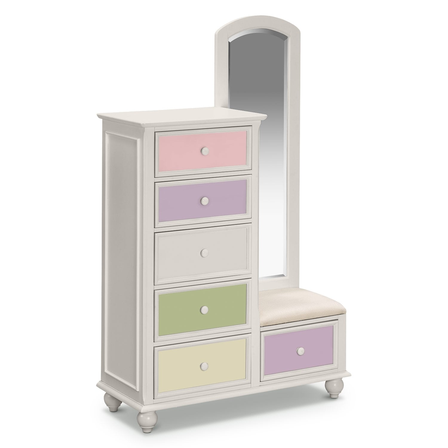 Colorworks Tall Chest And Mirror White Value City