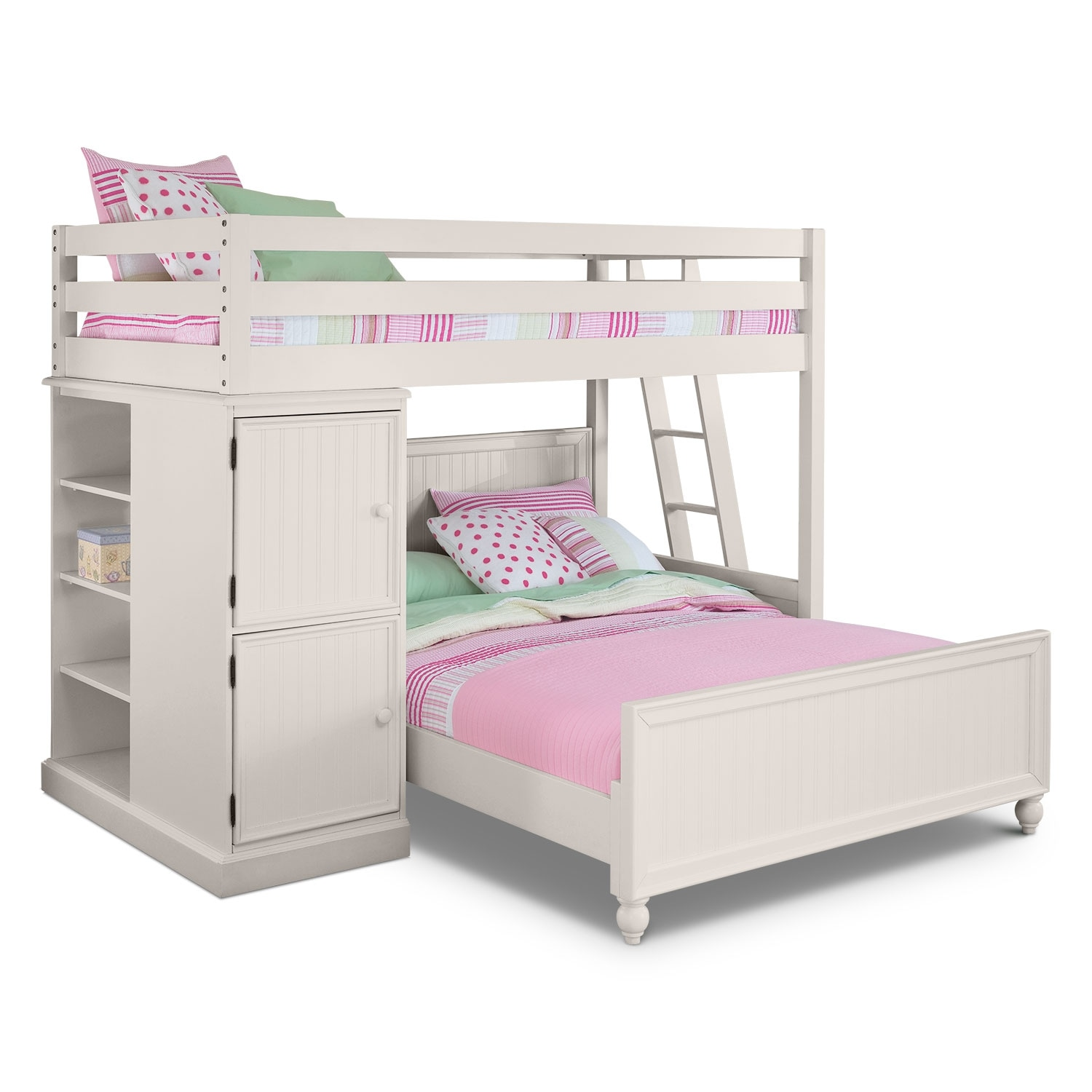 Colorworks loft bed with full bed white value city for Furniture and beds