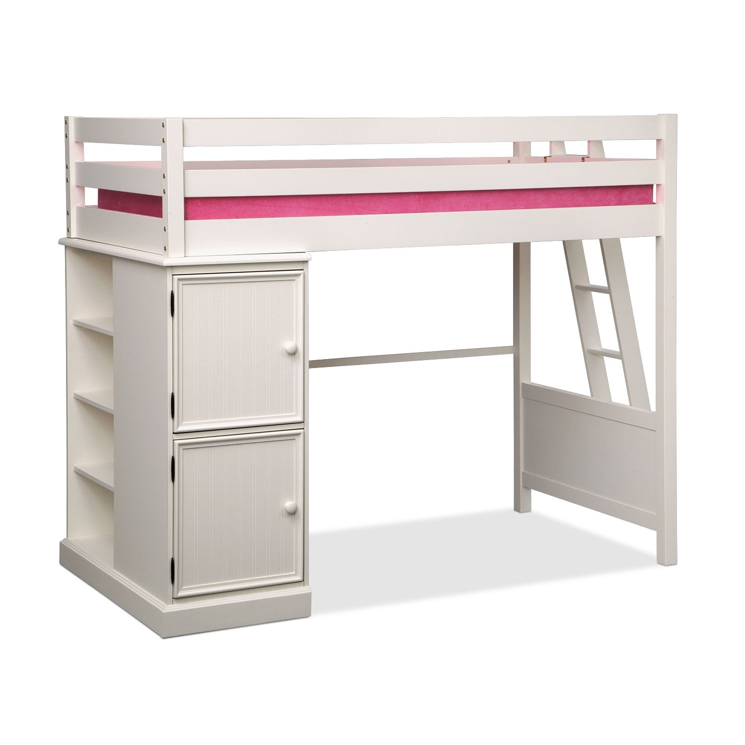 Colorworks white ii loft bed value city furniture for Loft furniture