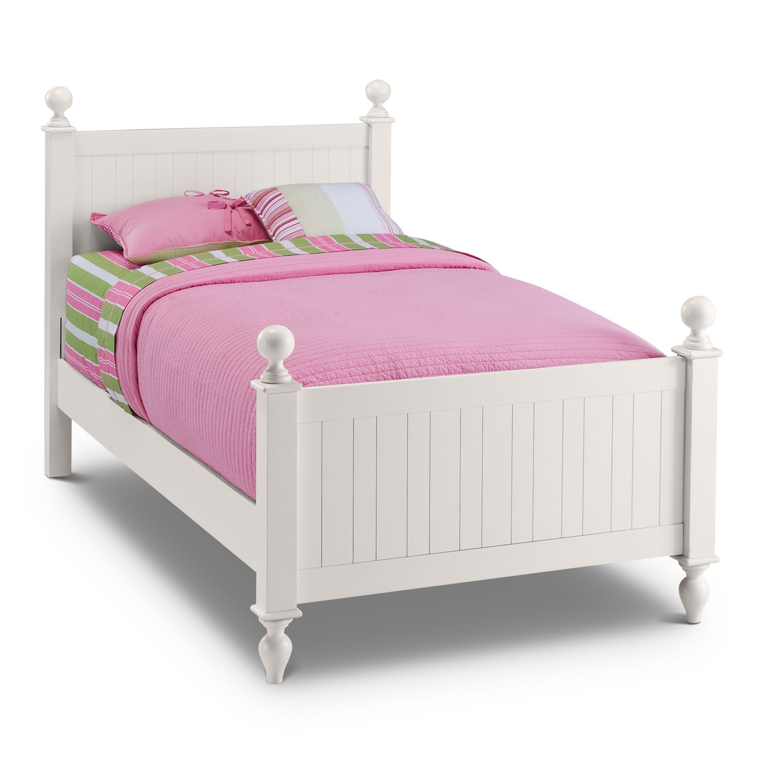 Colorworks white twin bed value city furniture for Twin size childrens bed frames