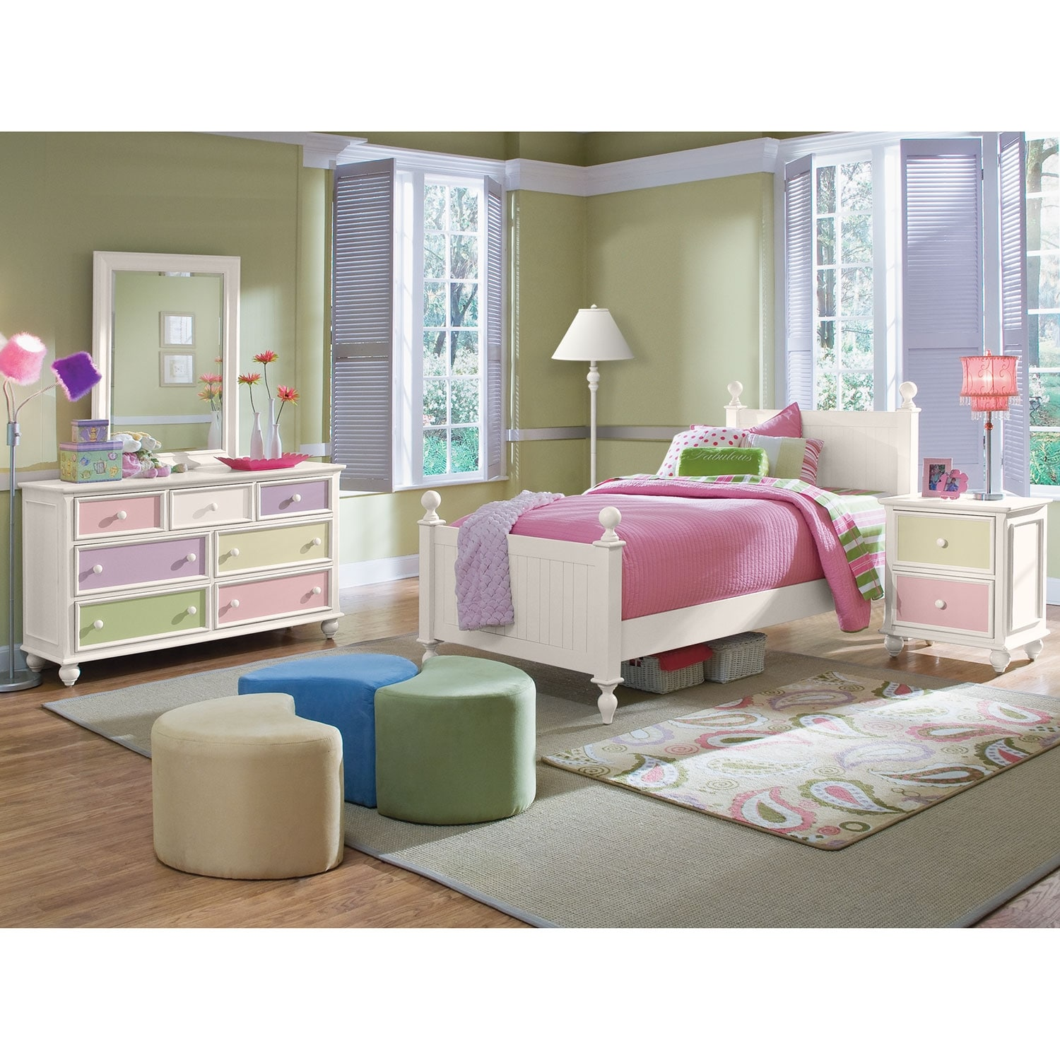 colorworks 6 piece twin bedroom set white value city furniture. Black Bedroom Furniture Sets. Home Design Ideas