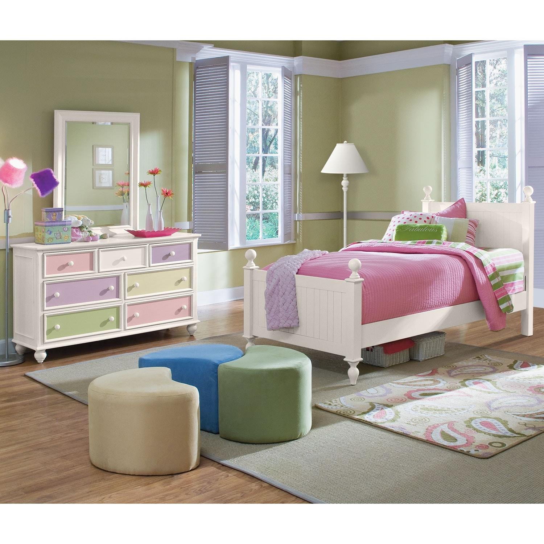 Colorworks 6 piece full bedroom set white american - American signature furniture bedroom sets ...