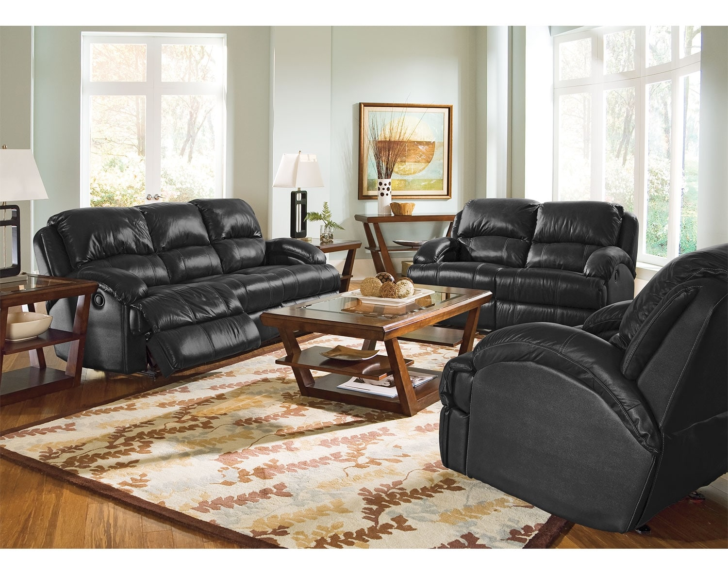 Living Room Furniture - The Easton Black Collection - Reclining Sofa