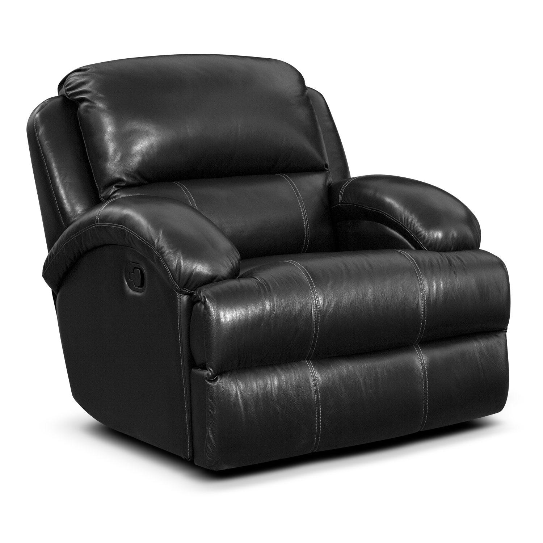 Living Room Furniture - Easton Black Glider Recliner