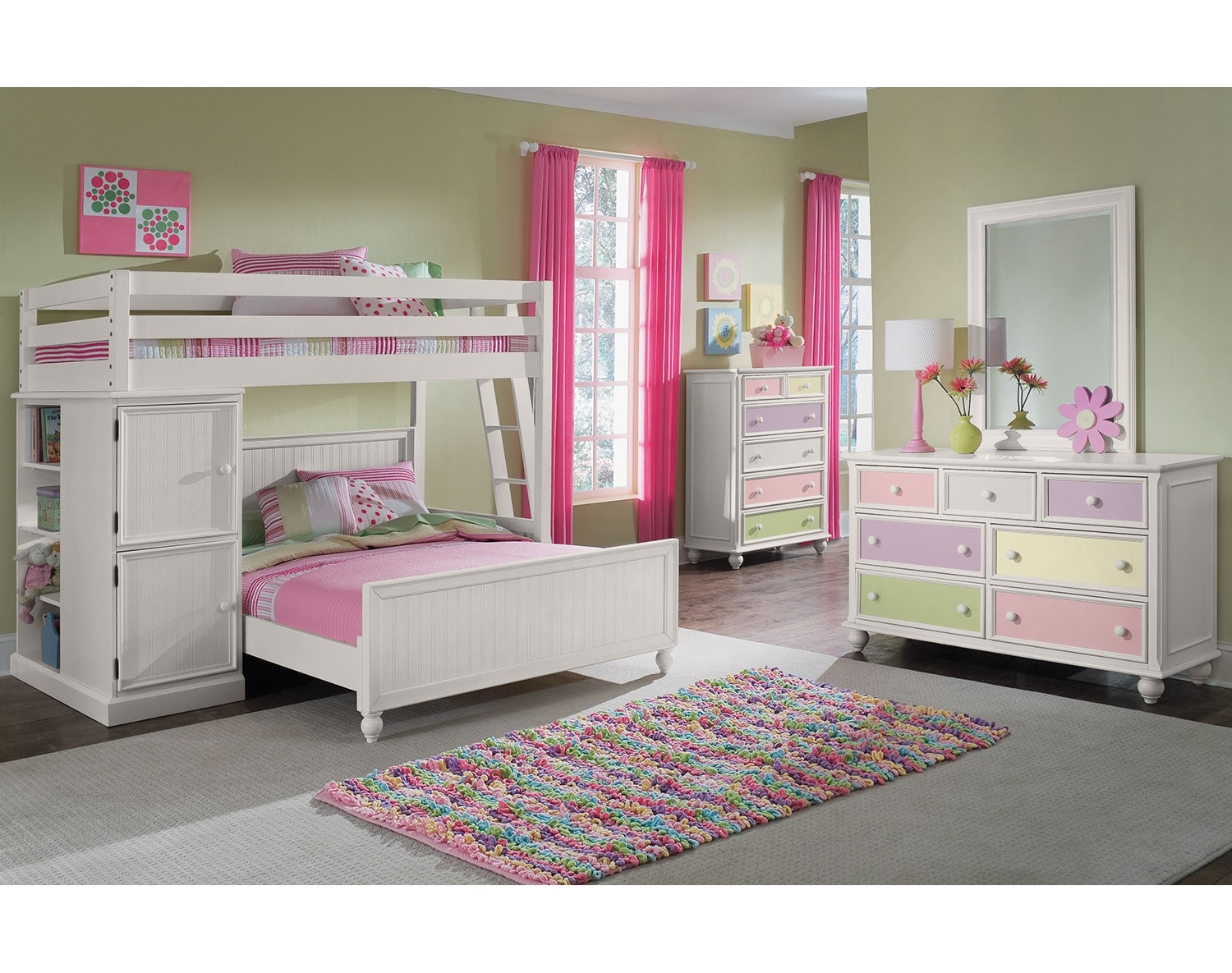 Kids Furniture - The Riley II White Collection - Loft Bed with Full Bed