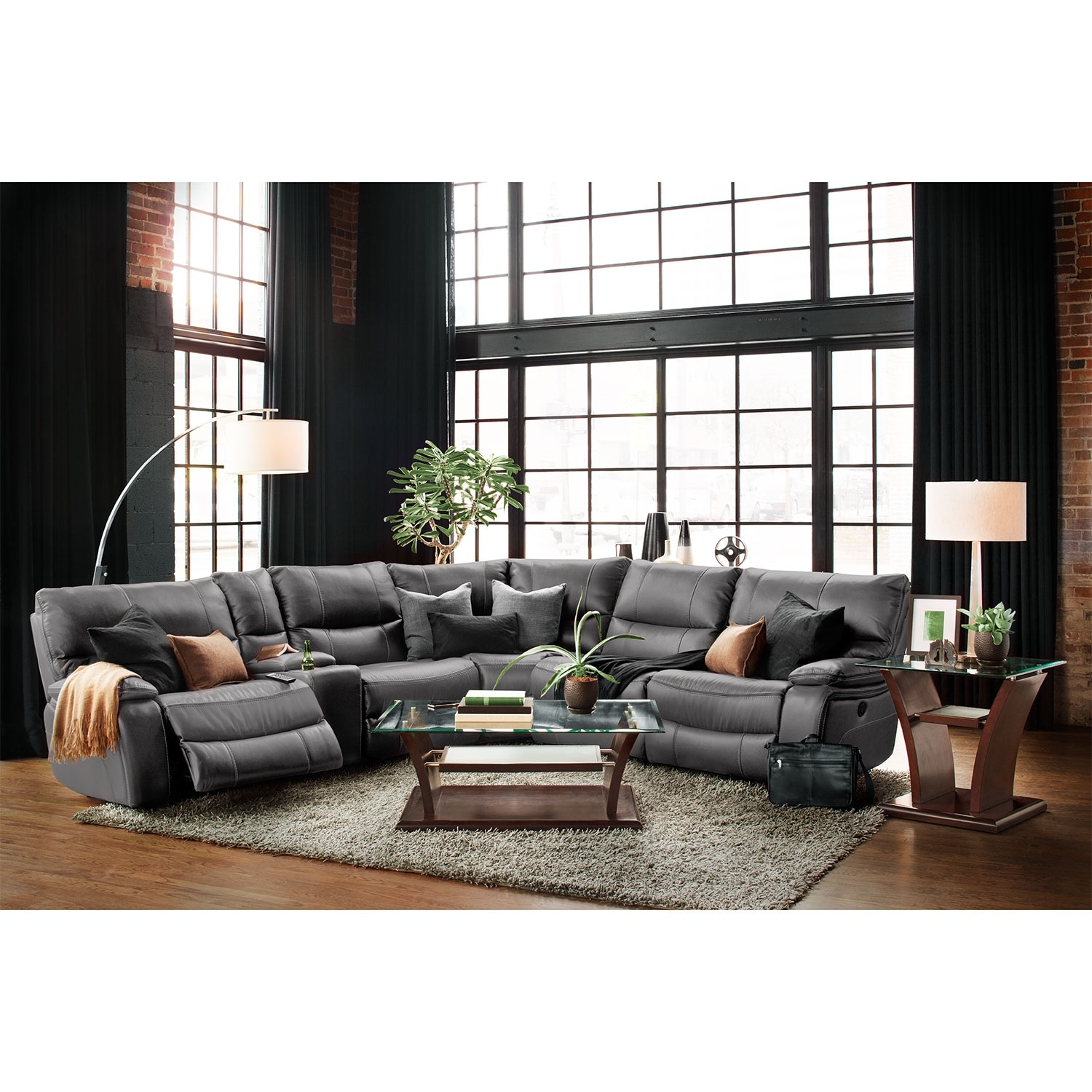 orlando 6 piece power reclining sectional with 2 stationary chairs gray value city furniture. Black Bedroom Furniture Sets. Home Design Ideas