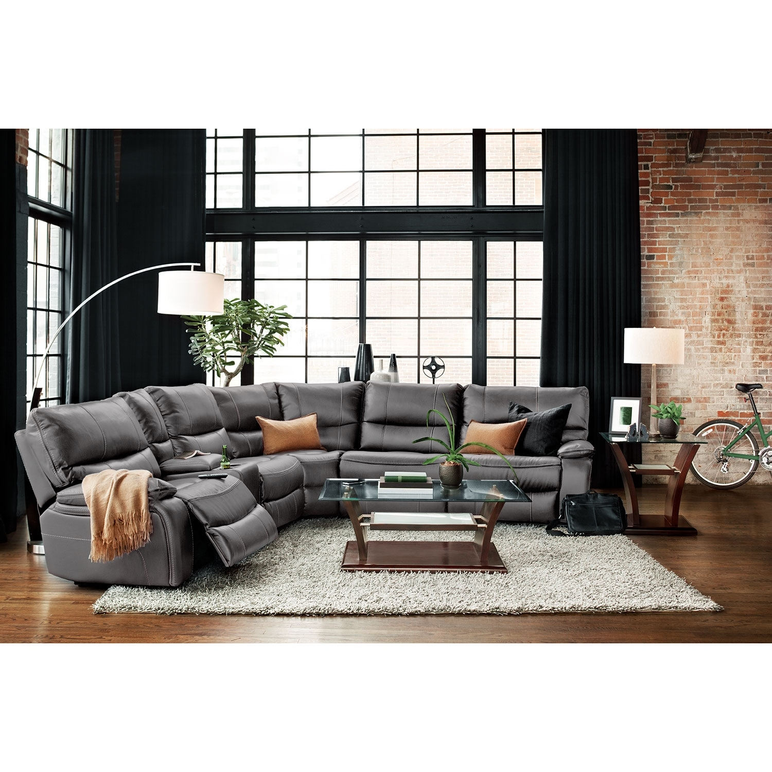 Orlando 6 piece power reclining sectional with 1 for 6 piece living room set