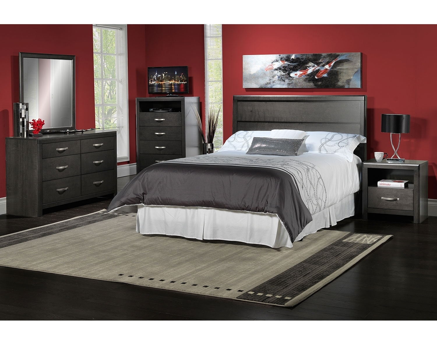 Leon Bedroom Furniture The Dessy Collection Charcoal Leons