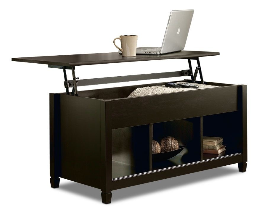 Black coffee table with storage lift top convertible for Table description