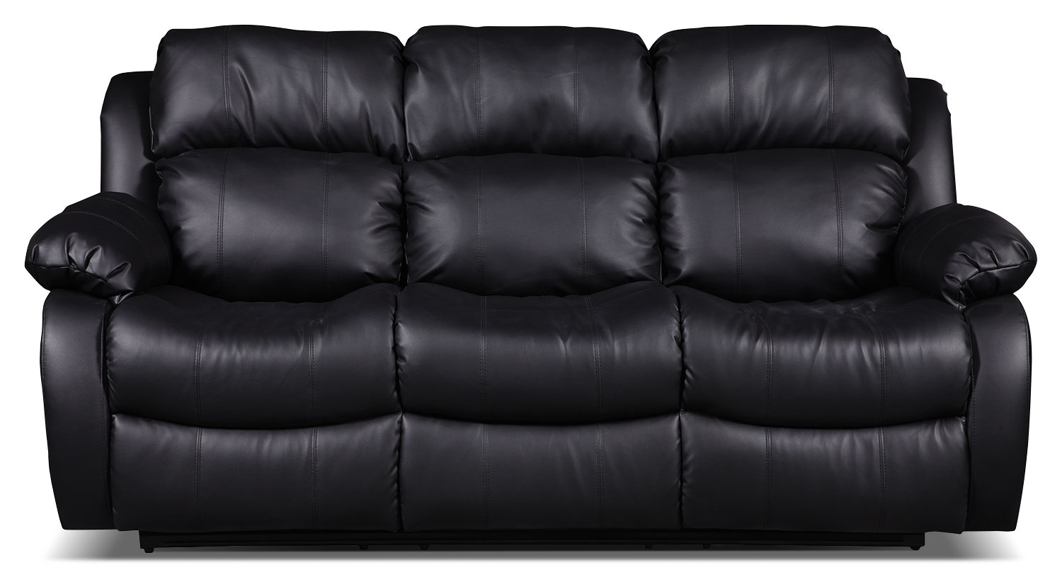 Living Room Furniture - Omega 2 Bonded Leather Reclining Sofa – Black