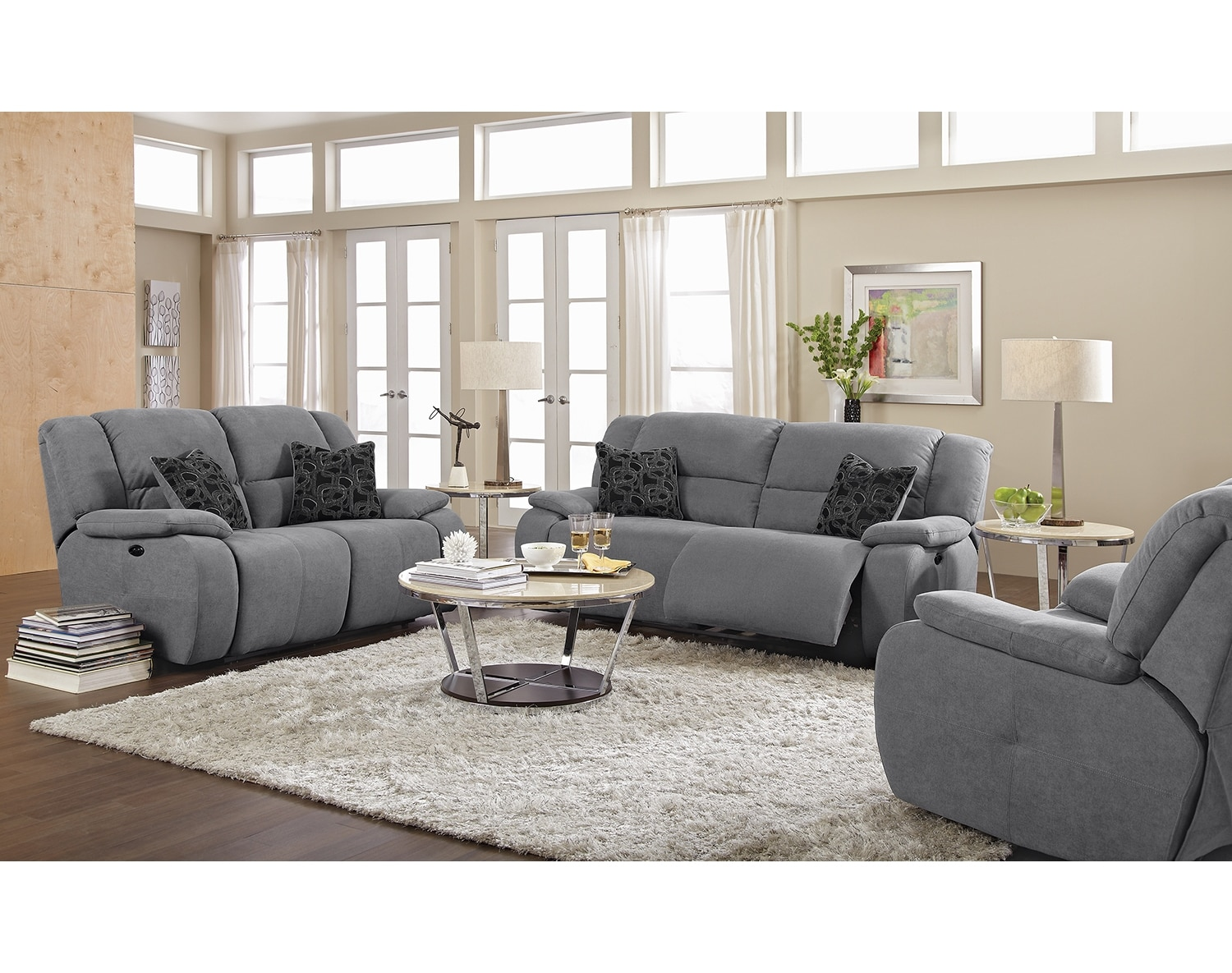 Living Room Furniture - The Fortuna Gray Collection - Power Reclining Sofa