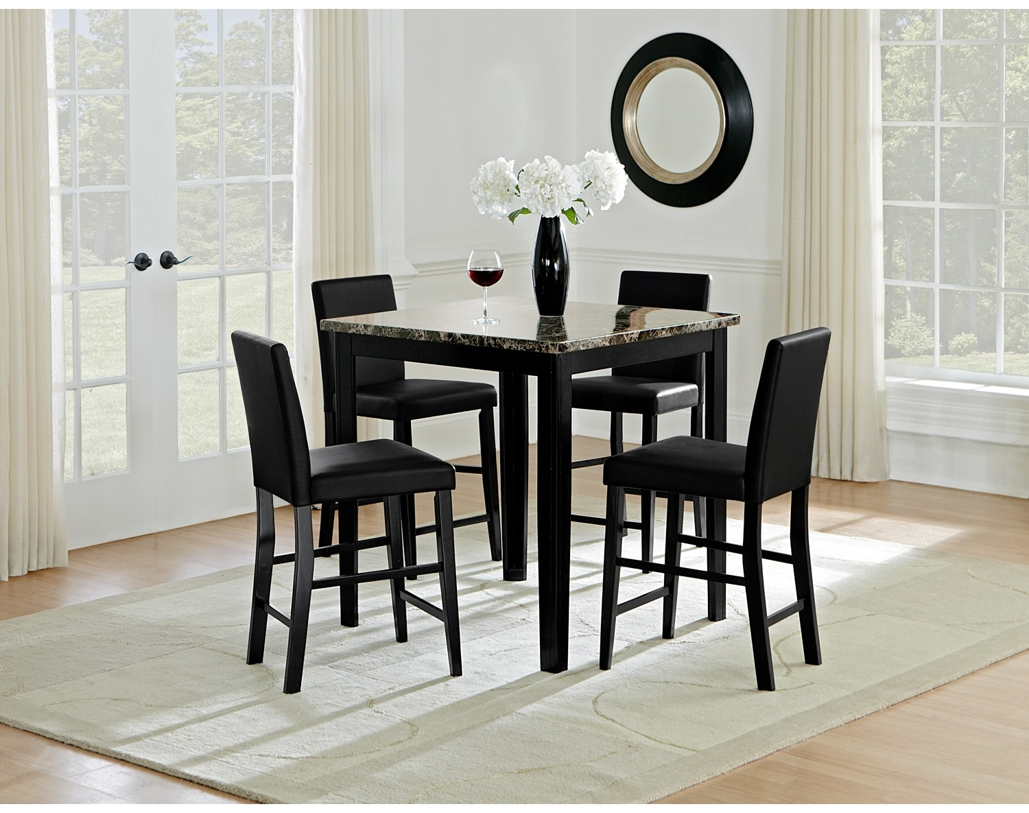 The shadow counter height collection black value city for Dining room value city furniture