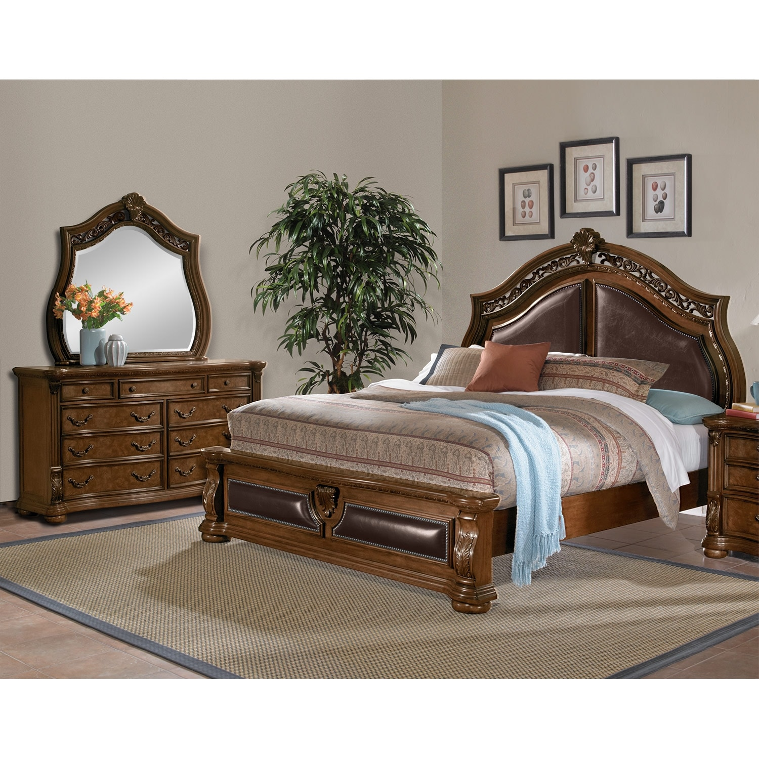 Bedroom Furniture: Morocco 5-Piece King Bedroom Set - Pecan