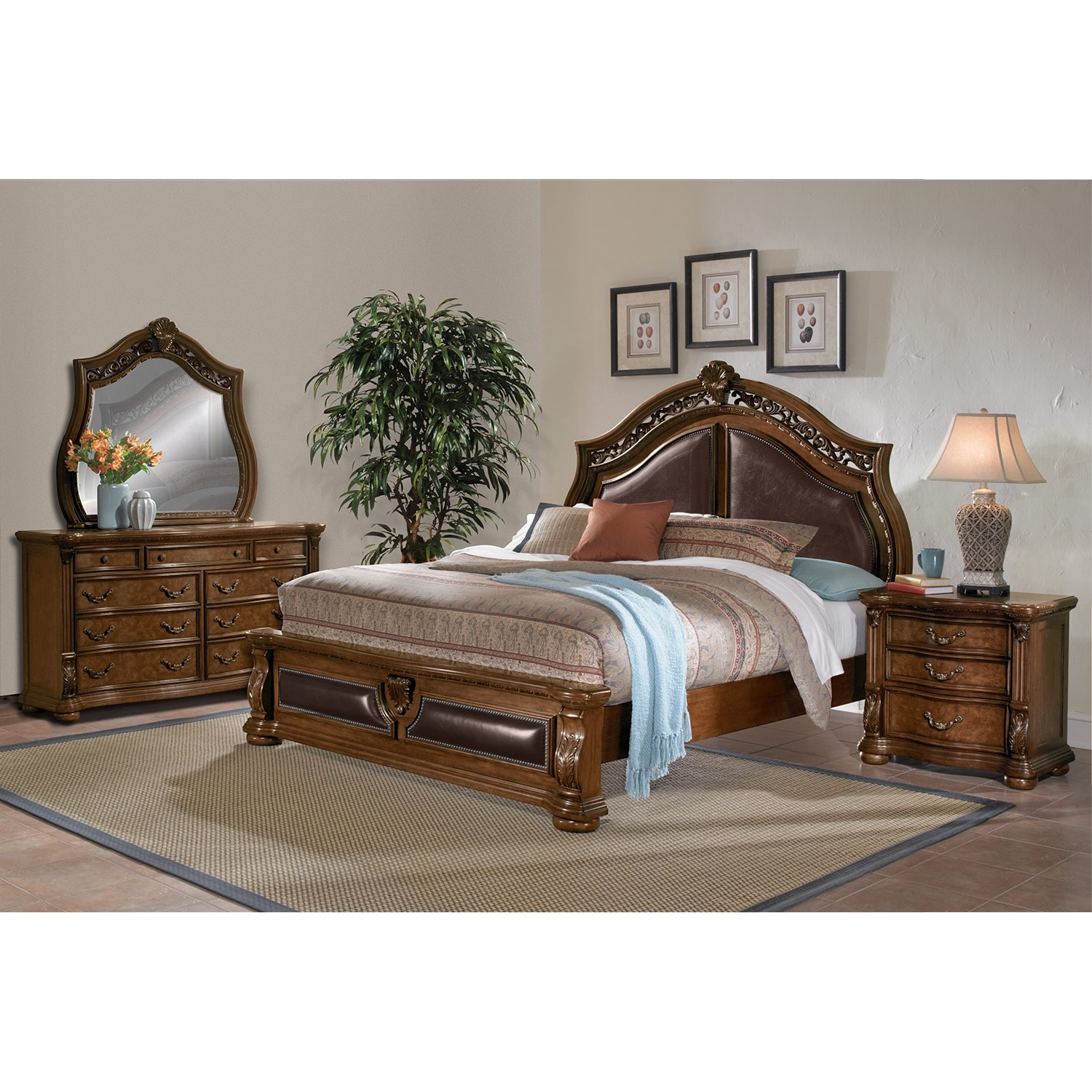 Morocco 6 piece king bedroom set pecan american for Bedroom furniture packages