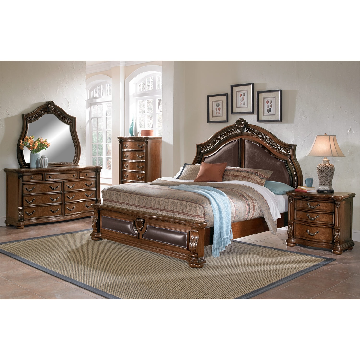 Morocco king bed pecan american signature furniture for American furniture king bedroom sets