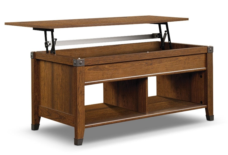carson forge coffee table with lift top washington cherry the brick. Black Bedroom Furniture Sets. Home Design Ideas