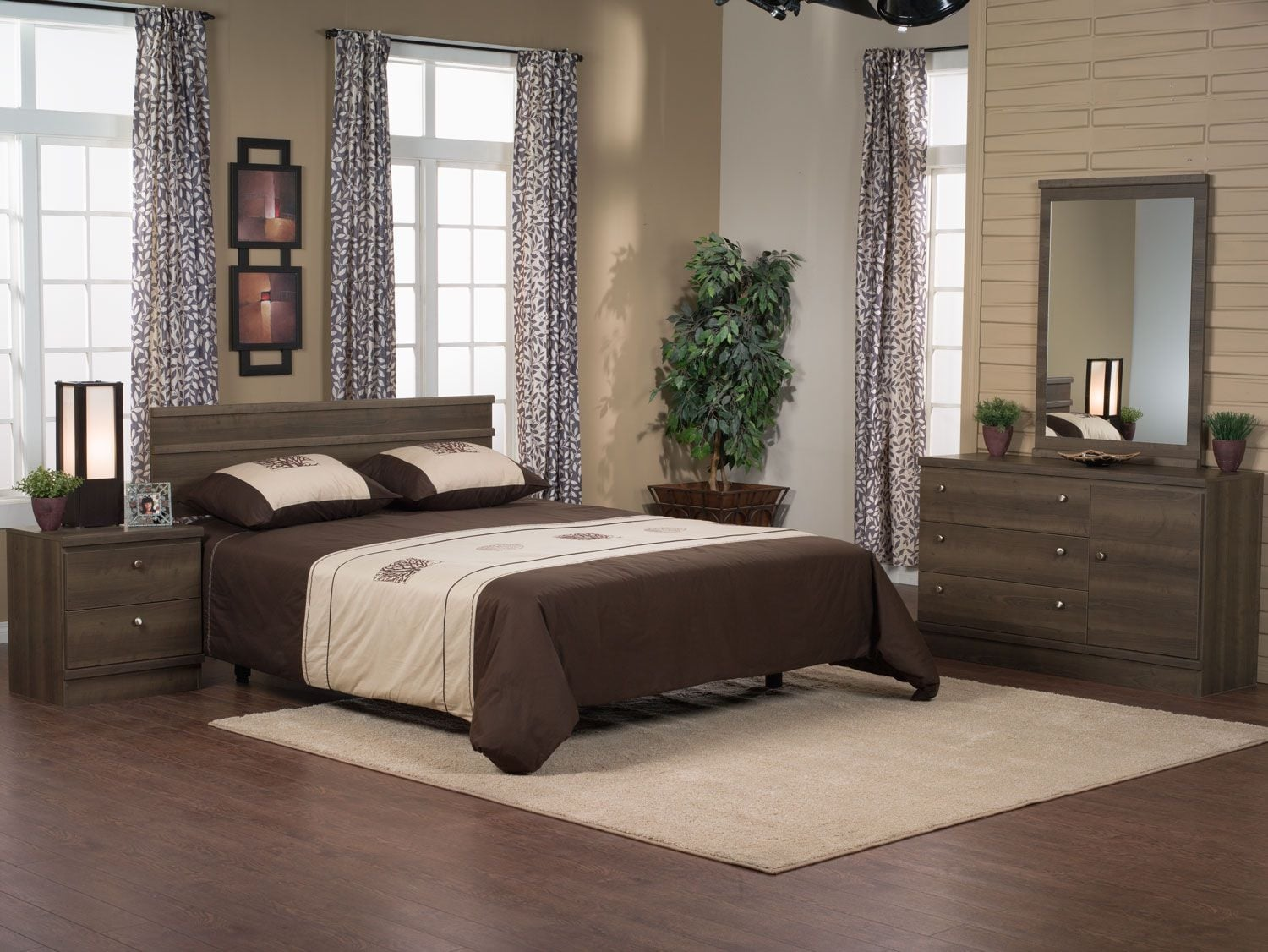 Loft 4-Piece Queen Bedroom Package – Grey-Brown
