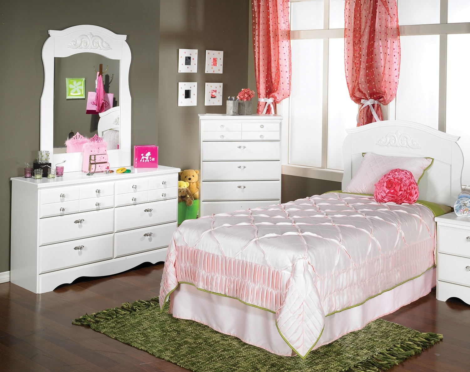 Kids Furniture - Diamond Dreams 3-Piece Twin Bedroom Package - White