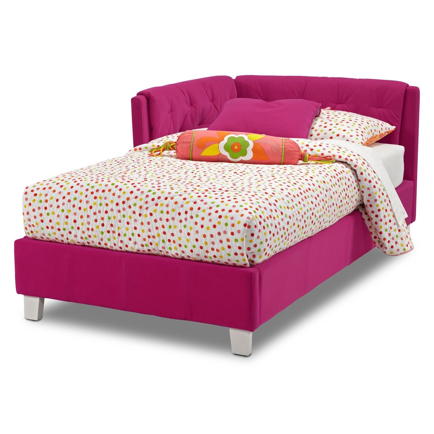 Jordan Twin Corner Bed Pink American Signature Furniture