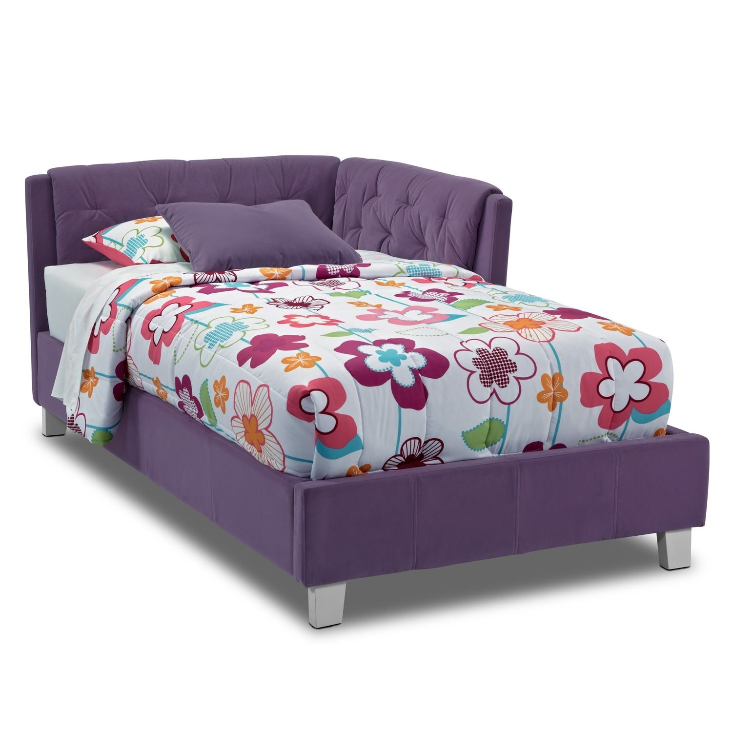 Jordan twin corner bed purple value city furniture for Furniture and beds