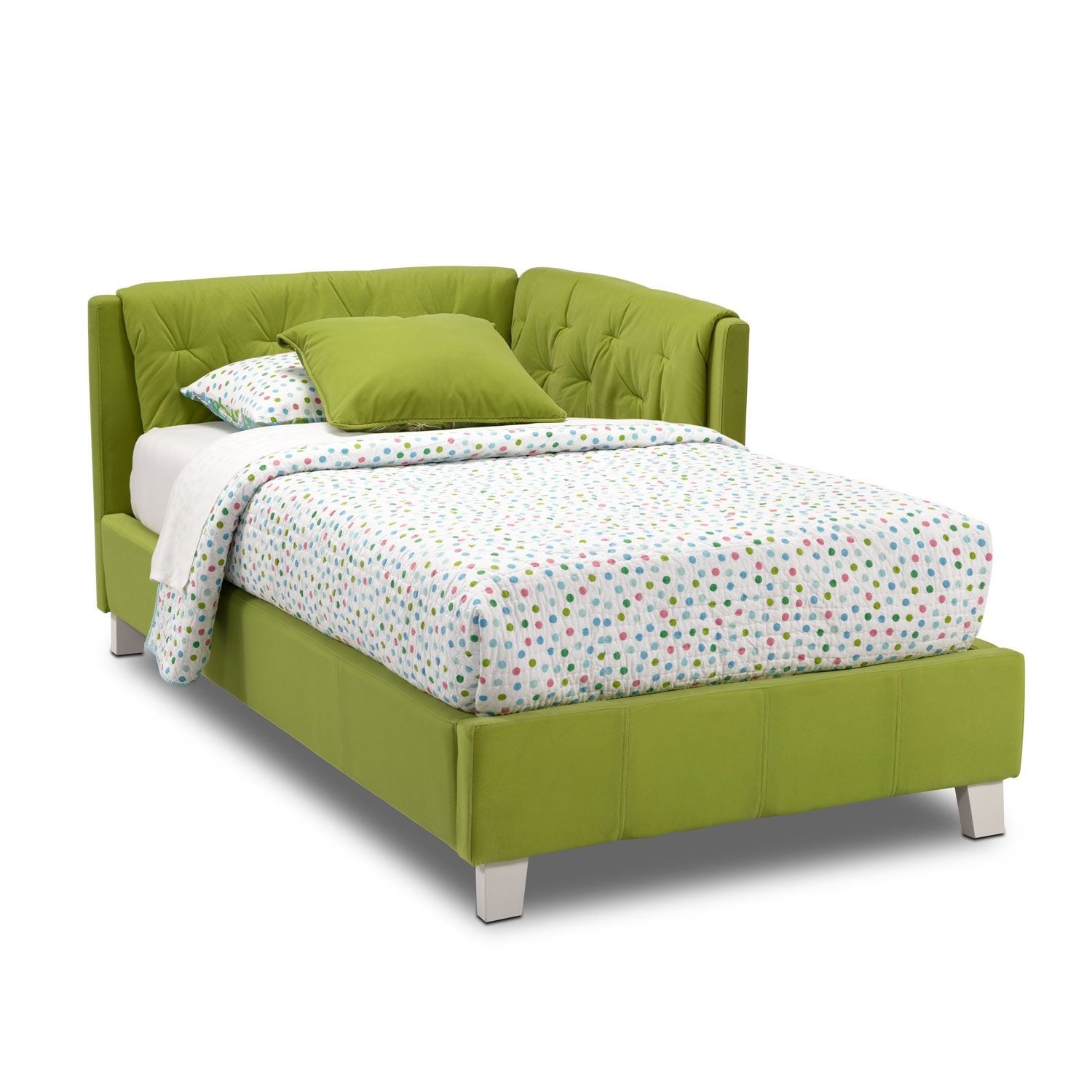 Jordan twin corner bed green american signature furniture for Furniture and beds