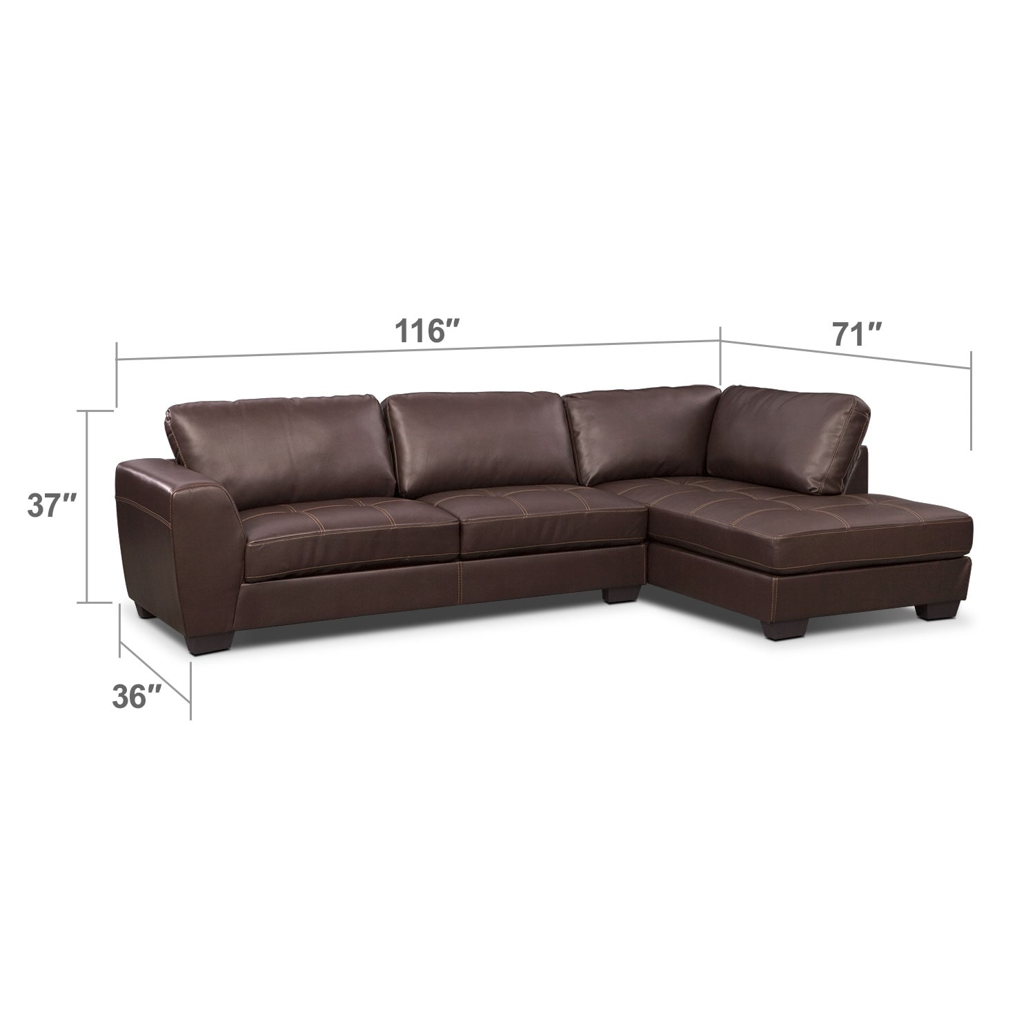 Living Room Furniture - Lyon Brown 2 Pc. Sectional (Reverse)