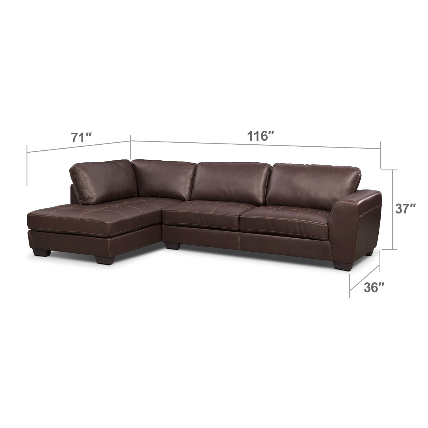 Living Room Furniture - Lyon Brown 2 Pc. Sectional