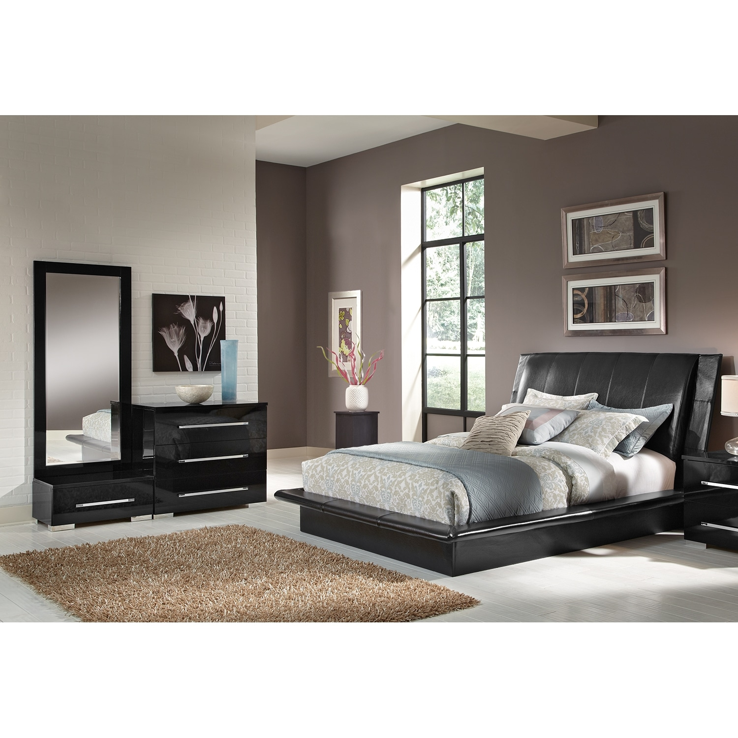 Dimora 7 Piece Queen Upholstered Bedroom Set Black American Signature Fur