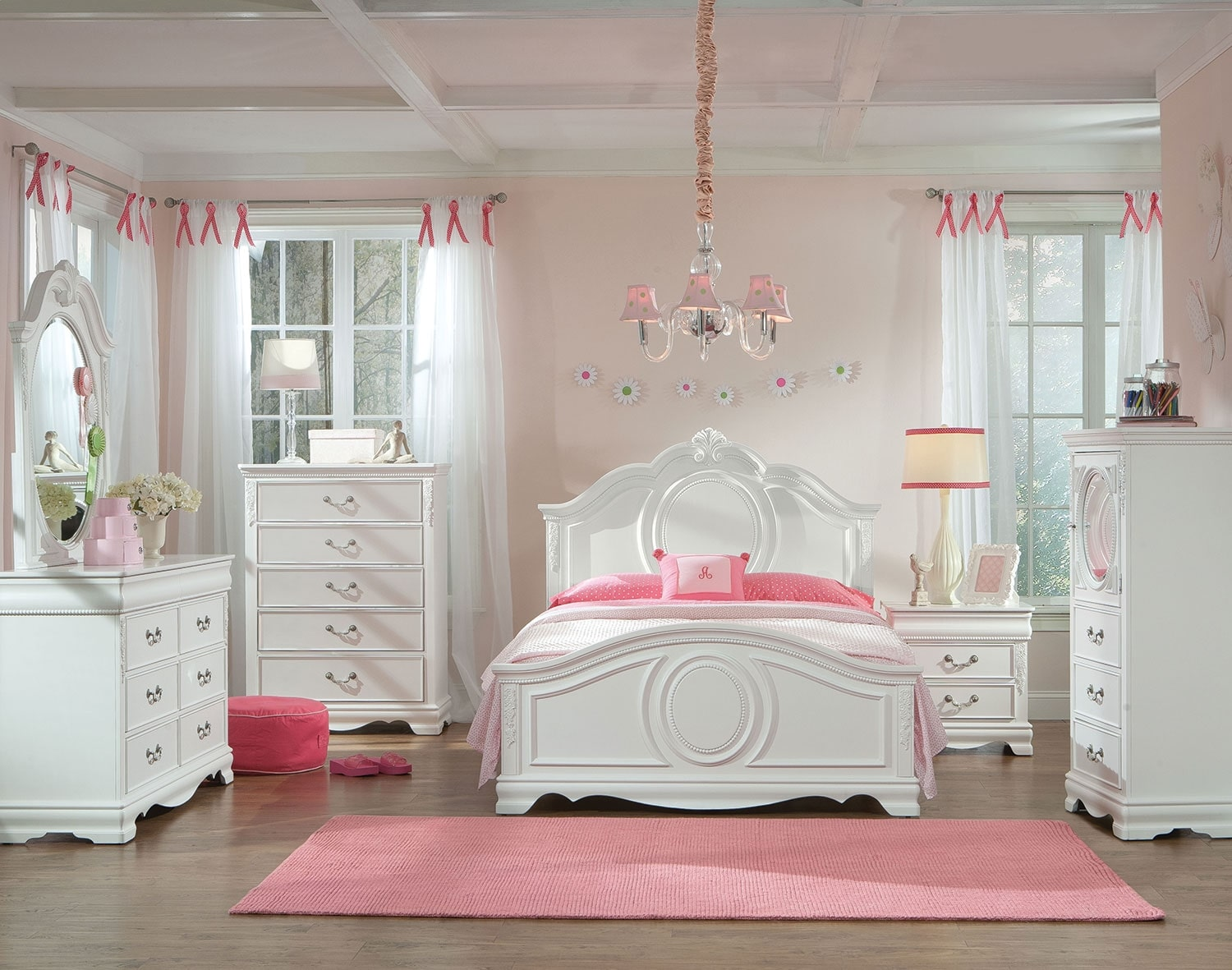Kids Furniture - Jessica 4-Piece Full Bedroom Package - White