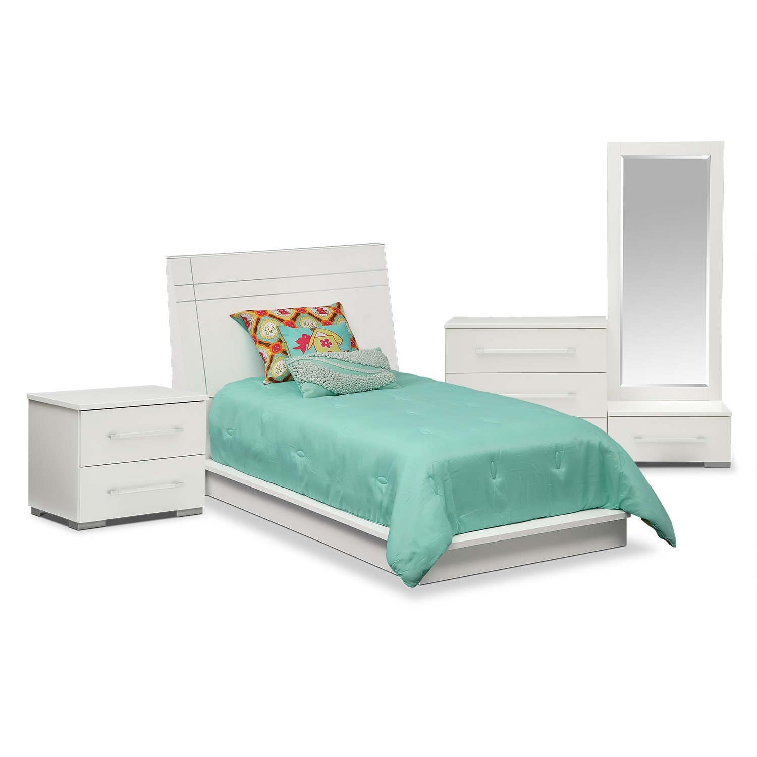 Dimora 6 Piece Twin Panel Bedroom Set White Value City Furniture