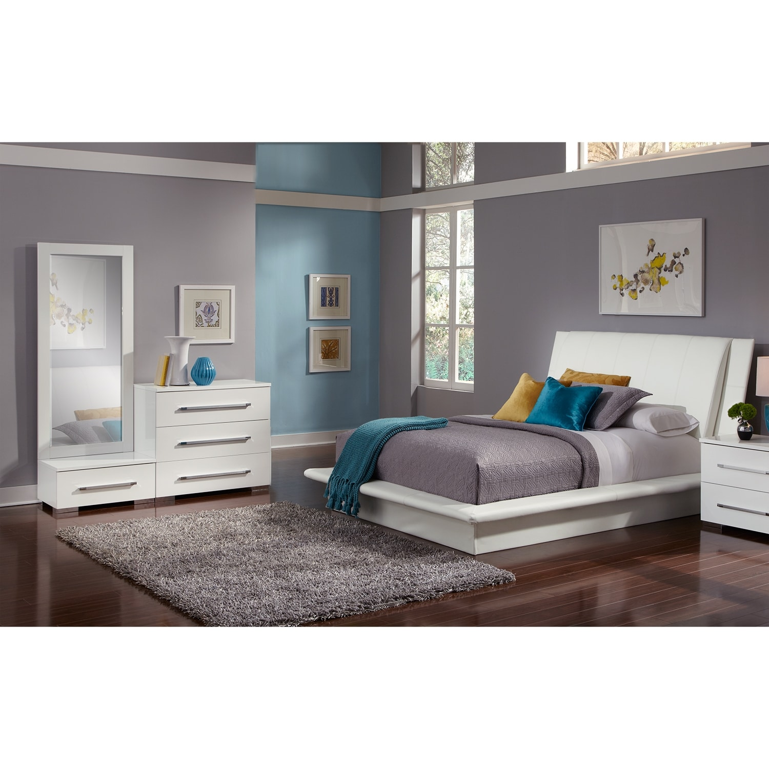 Dimora 5 Piece Queen Upholstered Bedroom Set White Value City Furniture