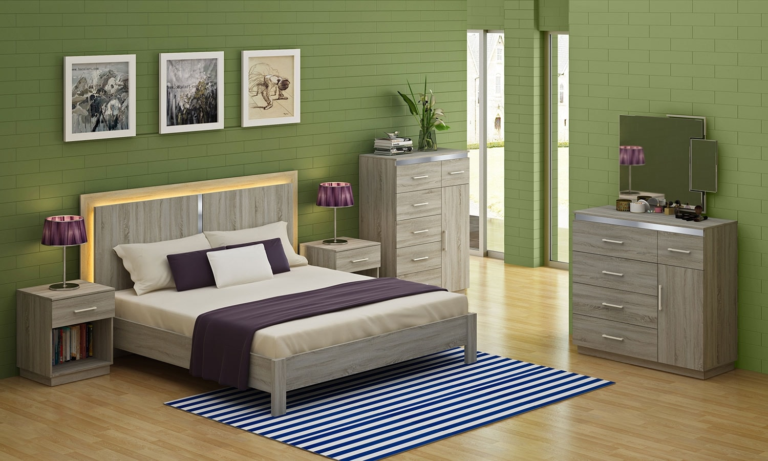 Bedroom Furniture - Dane Queen 5pc Bedroom - Grey