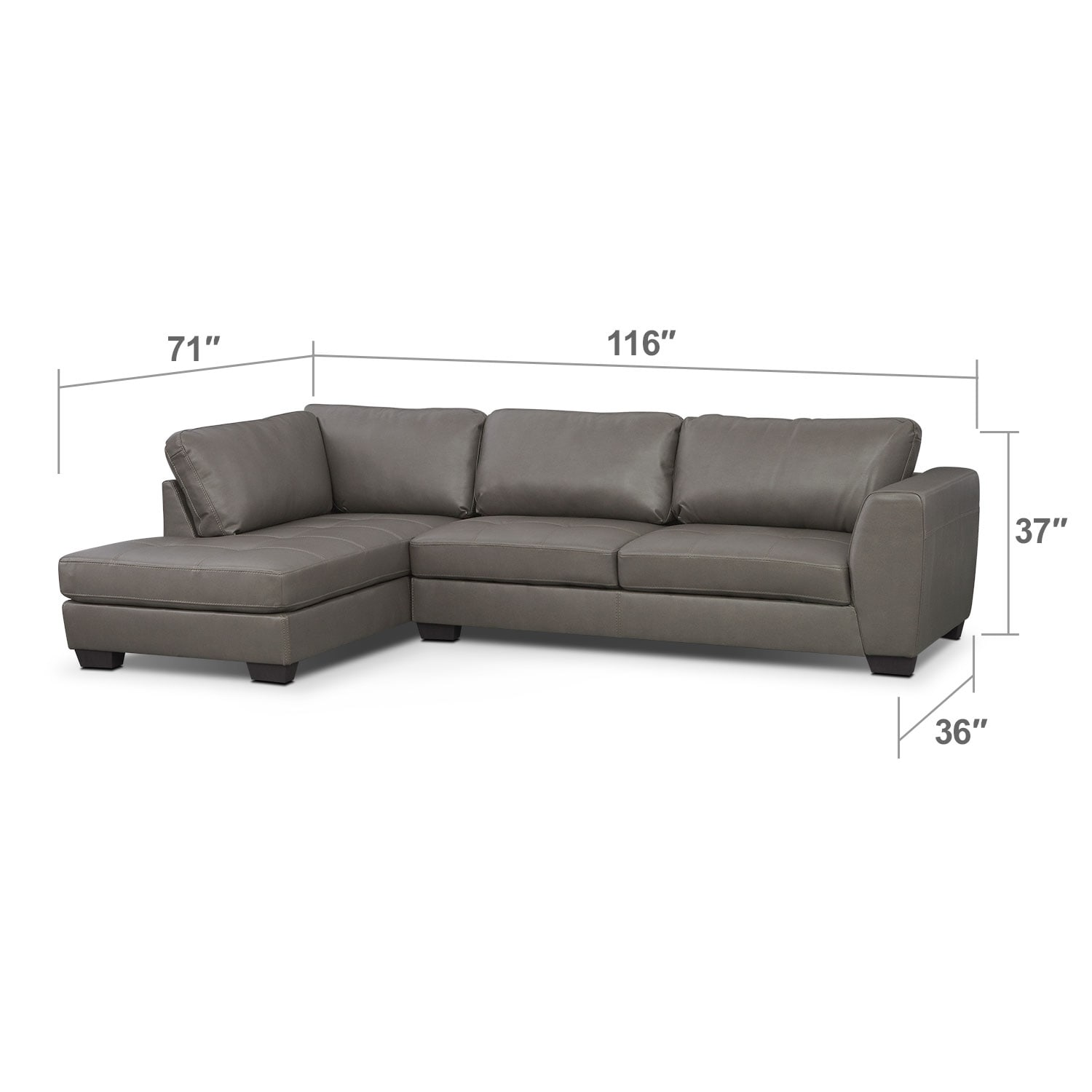 Living Room Furniture - Lyon Gray 2 Pc. Sectional