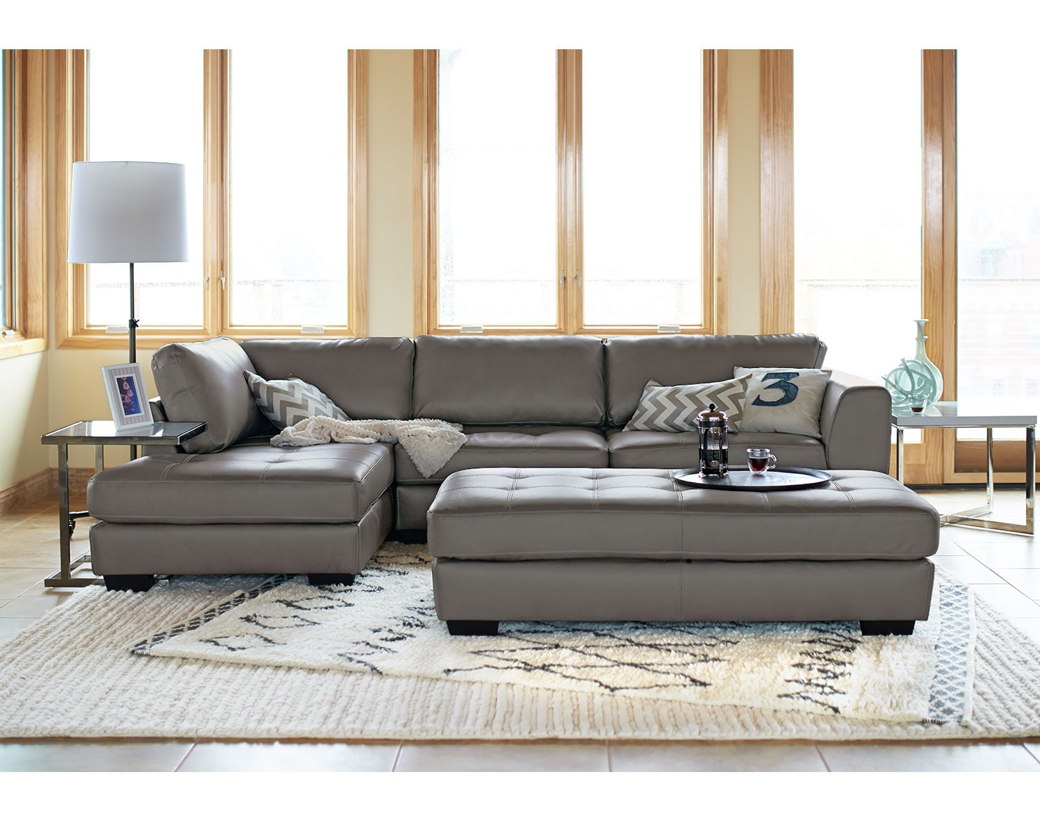 Living Room Furniture - The Lyon Gray Collection - 2 Pc. Sectional