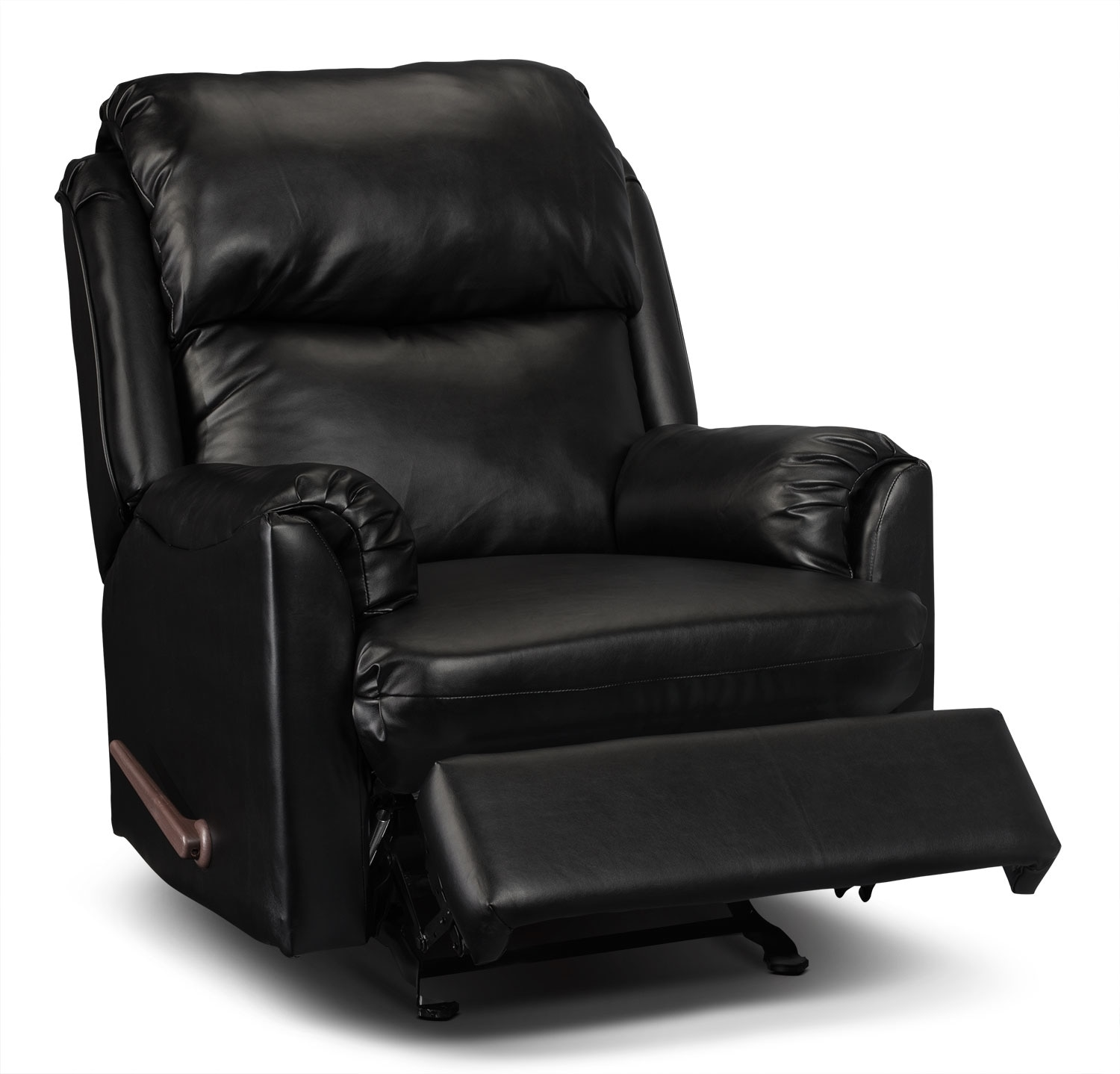 Drogba faux leather recliner black the brick for Faux leather living room furniture