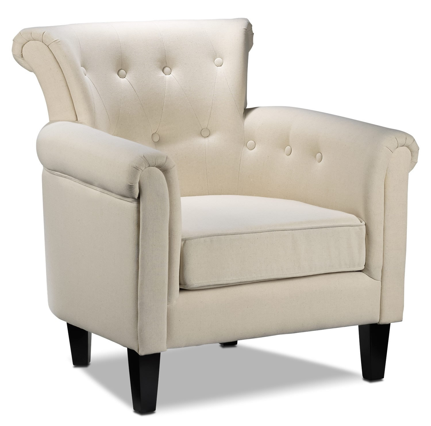 Laurel accent chair white leon 39 s for Living room accent chairs