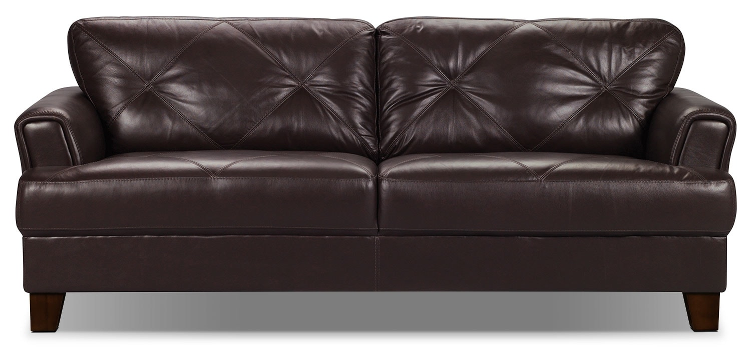 Vita 100% Genuine Leather Sofa - Chocolate : The Brick