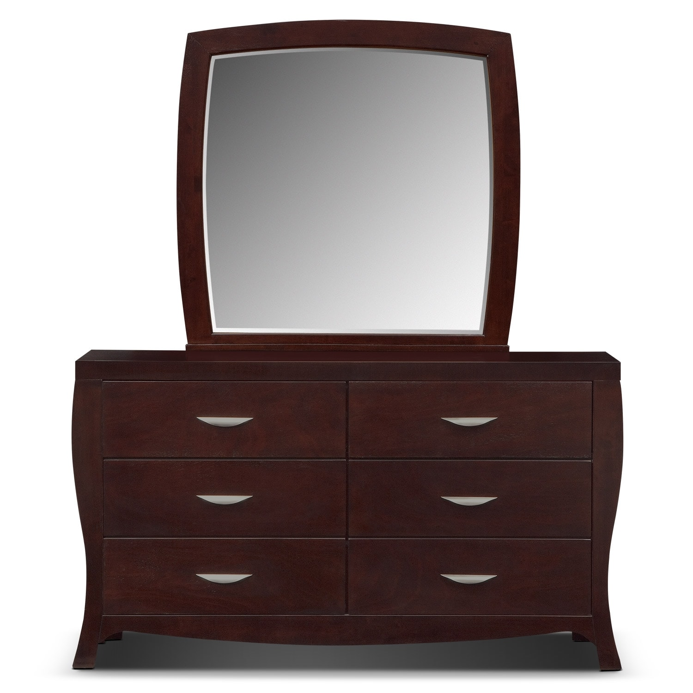Jaden Dresser And Mirror Merlot Value City Furniture