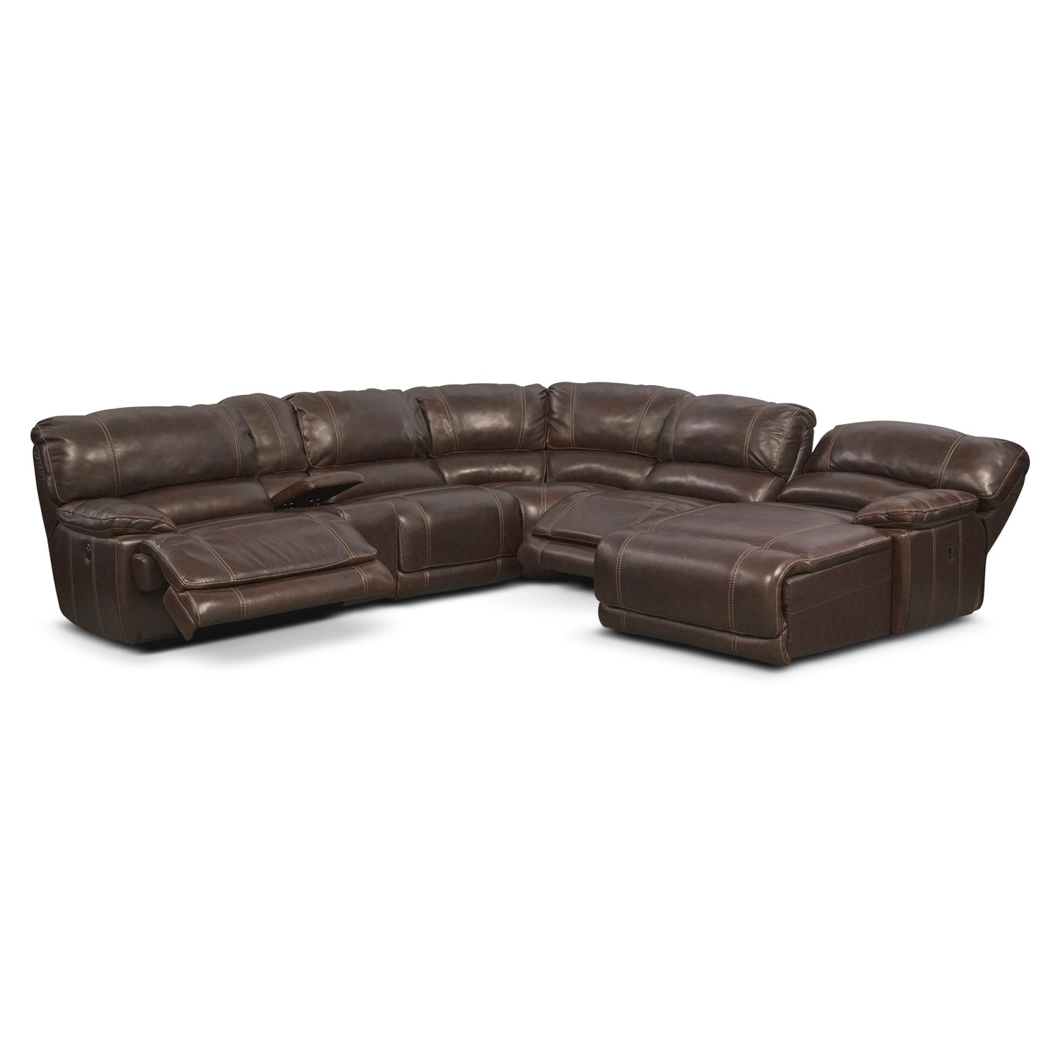 St malo 6 piece power reclining sectional with right for Brown sectional with chaise