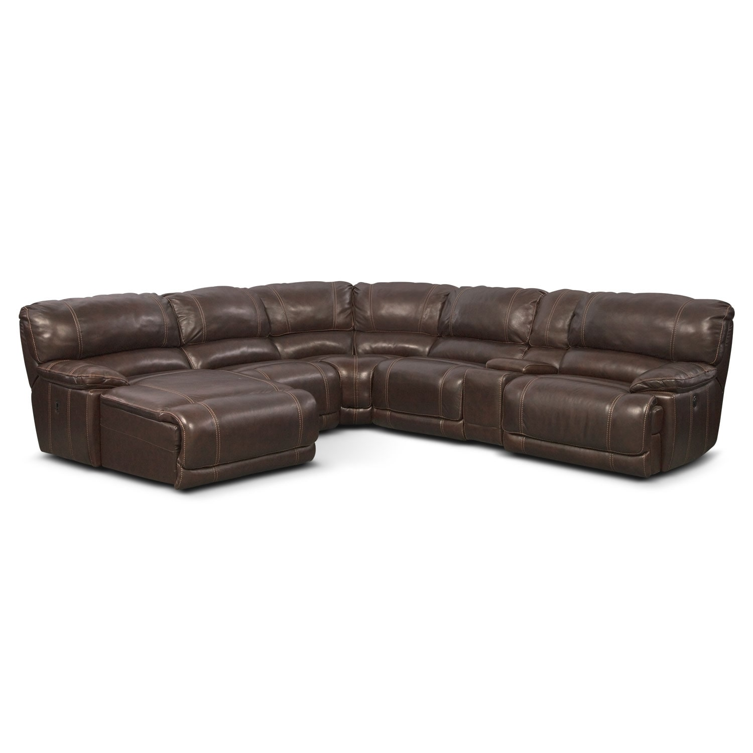 St malo 6 piece power reclining sectional with left for Brown couch with chaise