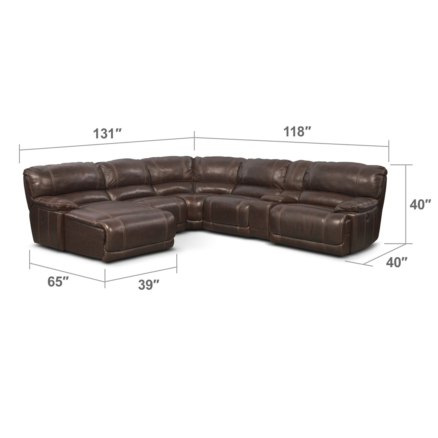 St Malo 6 Pc Power Reclining Sectional Reverse