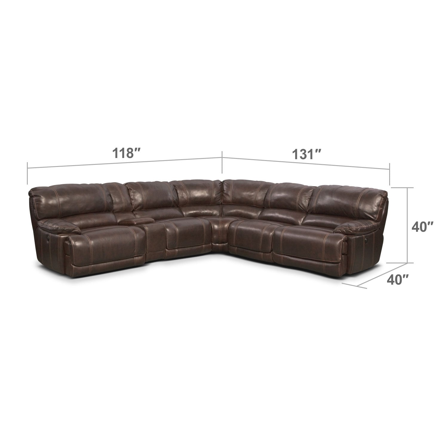 Living Room Furniture - Clinton Brown 6 Pc. Power Reclining Sectional (Alternate)