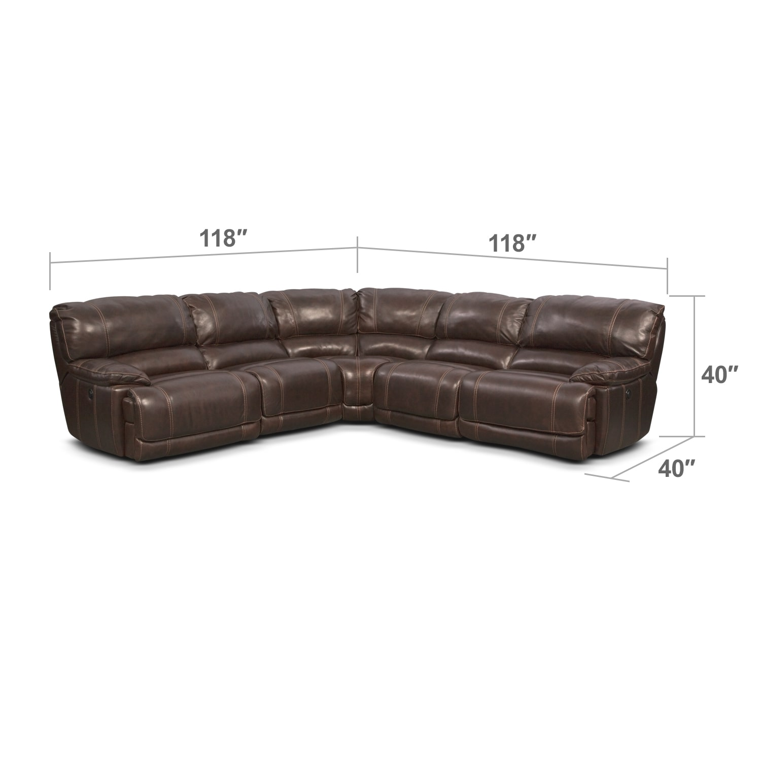 Living Room Furniture - Clinton Brown 5 Pc. Power Reclining Sectional