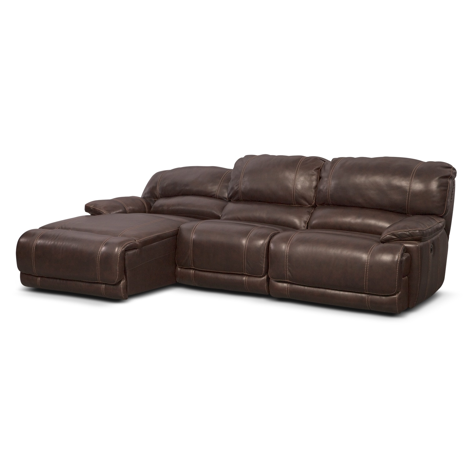 St malo 3 piece power reclining sectional with left for Brown sectionals with chaise