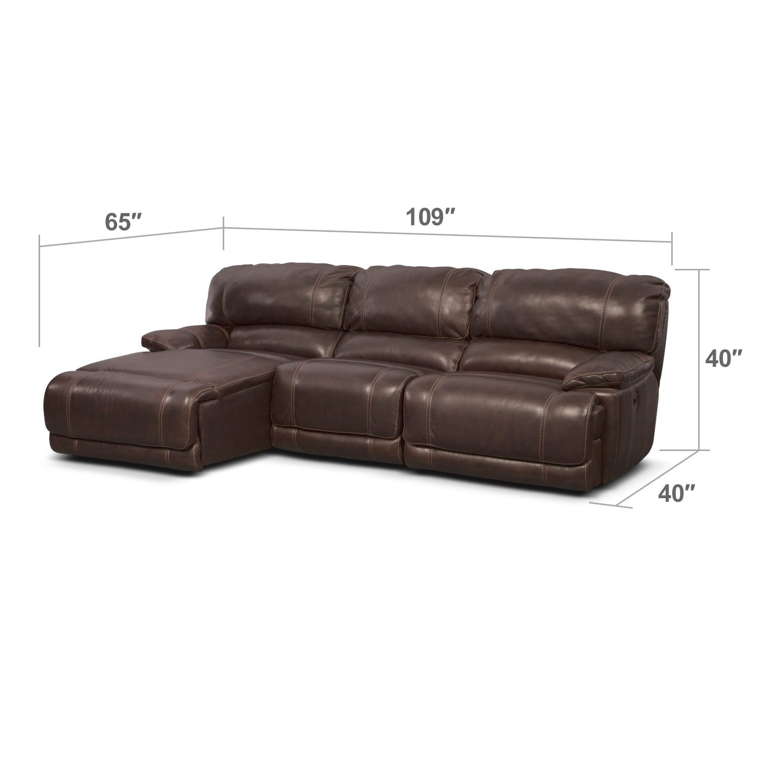 St Malo 3 Pc Power Reclining Sectional Reverse