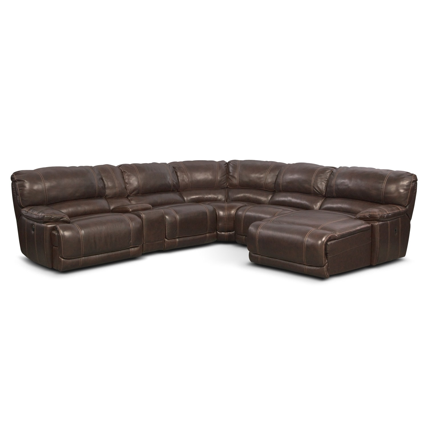 Living Room Furniture - Clinton Brown 6 Pc. Power Reclining Sectional