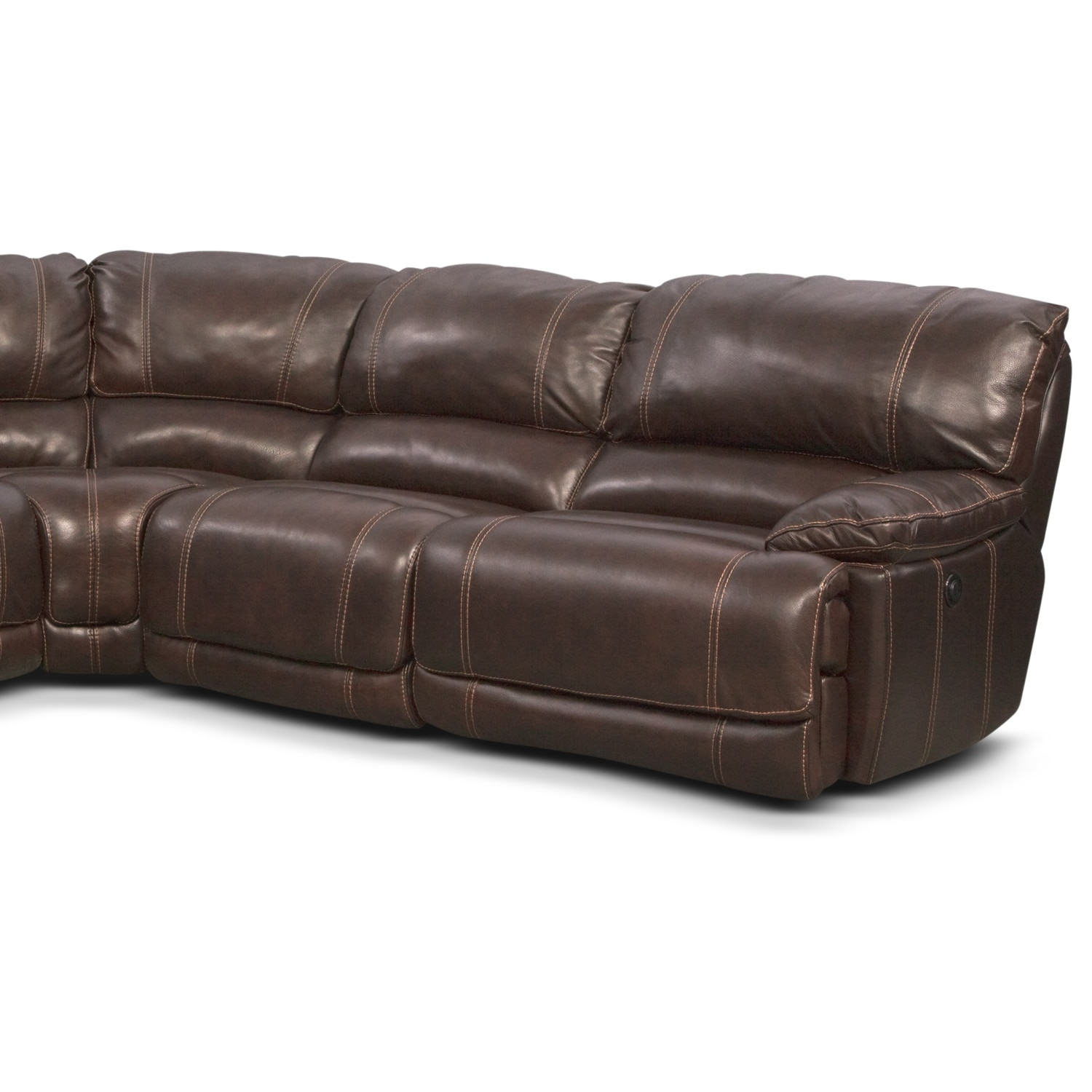 Clinton brown 5 pc power reclining sectional furniturecom for 5 pc sectional sofas