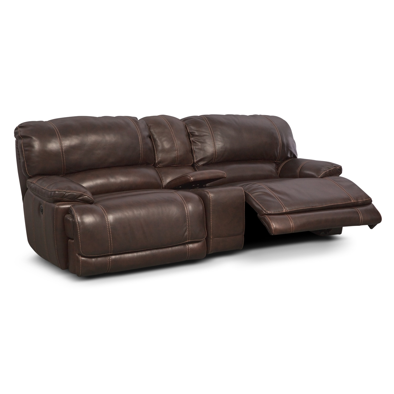 Clinton Brown Leather Power Reclining Sofa With Console